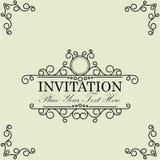 De uitstekende en antieke uitnodiging van de groetkaart met mooi Lux Royalty-vrije Stock Foto's