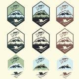 de uitstekende etiketten van het visserijkamp met zalm en dragen Stock Fotografie