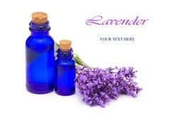 De uitstekende flessen en de lavendelbloemen Royalty-vrije Stock Afbeelding