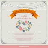 De uitstekende Gelukkige Achtergrond van de Moeders` s Dag De gelukkige vlakke kaarten van de moedersdag Royalty-vrije Stock Foto's