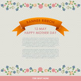 De uitstekende Gelukkige Achtergrond van de Moeders` s Dag De gelukkige vlakke kaarten van de moedersdag Stock Afbeeldingen