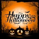 De uitstekende Gelukkige Typografische Achtergrond van Halloween Stock Afbeeldingen
