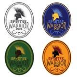 De uitstekende geplaatste etiketten van de het bierfles van de Antiquiteiten Spartaanse strijder stock illustratie