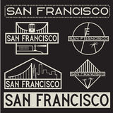 De uitstekende geplaatste etiketten van San Francisco Stock Afbeelding