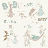 De uitstekende Geplaatste Krabbels van de Douche en van de Aankomst van de Jongen van de Baby Royalty-vrije Stock Afbeelding