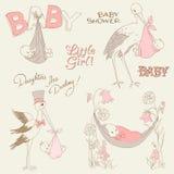 De uitstekende Geplaatste Krabbels van de Douche en van de Aankomst van het Meisje van de Baby Royalty-vrije Stock Foto's