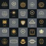 De uitstekende Geplaatste Malplaatjes van het Emblemenontwerp De inzameling van Logotypeselementen, Pictogrammensymbolen, Retro E stock illustratie