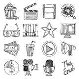 De uitstekende geplaatste pictogrammen van de bioskoopfilm Stock Afbeeldingen