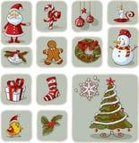 De uitstekende Getrokken Vector van Kerstmis Grafische Elementen Hand Stock Afbeelding