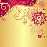 De uitstekende gouden-rode achtergrond van Kerstmis Stock Fotografie