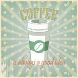 De uitstekende groene kop van de affichekoffie Stock Foto's
