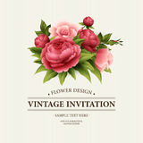 De uitstekende Groetkaart met Bloeiende pioen en nam Bloemen toe Vector illustratie Stock Foto's