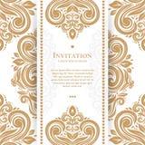 De uitstekende groetkaart met gouden doorbladert royalty-vrije illustratie