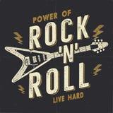 De uitstekende Hand Getrokken Affiche van het Rotsn Broodje, Rockaffiche Hard de Grafiekontwerp van het Muziekt-stuk Rockt-shirt  royalty-vrije illustratie