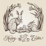 De uitstekende hand getrokken illustratie van Pasen Gelukkig vector de kaartontwerp van Pasen met konijntjes en bloemen Stock Fotografie