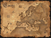 De uitstekende horizontale kaart van Europa royalty-vrije stock afbeelding