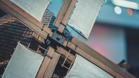 De uitstekende Houten Bladen van de Windturbine stock foto