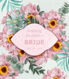 De uitstekende Huwelijksuitnodiging met madeliefje bloeit Vector Mooie kaartillustraties als achtergrond vector illustratie