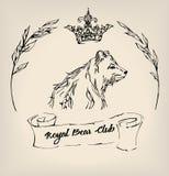 De uitstekende inkt draagt met kroon, rol en takjes Vector illustratie Royalty-vrije Stock Foto's
