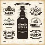 De uitstekende inzameling van alcoholetiketten Stock Fotografie
