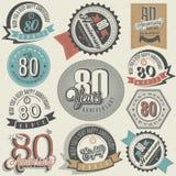 De uitstekende inzameling van de stijl tachtigste verjaardag. Stock Foto's