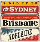 De uitstekende inzameling van metaaltekens met Australische steden Stock Afbeelding