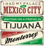 De uitstekende inzameling van metaaltekens met de steden van Mexico Royalty-vrije Stock Foto