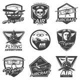 De uitstekende Inzameling van Vliegtuigenetiketten Stock Foto
