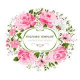 De uitstekende kaart met bloemen nam, pioen, kamille toe Stock Afbeelding