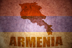 De uitstekende kaart van Armenië Stock Afbeeldingen