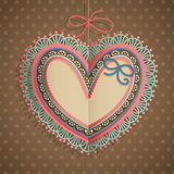 De uitstekende kaart van de Dag van de valentijnskaart `s met hart Stock Foto's