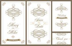 De uitstekende kaart van de huwelijksuitnodiging met bloemen en antieke decoratieve elementen stock illustratie