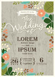De uitstekende kaart van de huwelijksuitnodiging met leuk bloeit achtergrond Royalty-vrije Stock Afbeelding