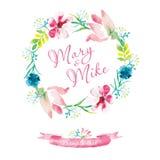 De uitstekende kaart van de huwelijksuitnodiging met waterverfelementen Hand het schilderen, zachte bloemen stock illustratie