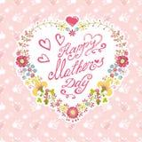 De uitstekende kaart van de Moederdag Bloemen hartkroon Stock Foto's