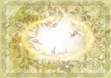 De uitstekende kaart van de uitnodiging met bloemenornament Royalty-vrije Stock Afbeeldingen