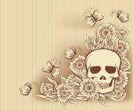 De uitstekende kaart van Halloween met schedel, vector Stock Foto's