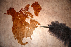 De uitstekende kaart van Noord-Amerika Stock Foto's