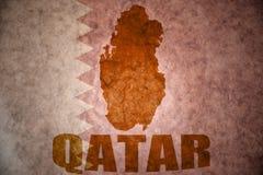 De uitstekende kaart van Qatar royalty-vrije stock afbeelding