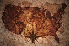 De uitstekende kaart van de Verenigde Staten van Amerika Stock Afbeeldingen