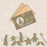 De uitstekende koekjes van het het jaar retro speelgoed van de Kerstmiskaart nieuwe Stock Foto