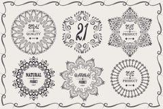 De uitstekende koele elegante kaders ontwerpen elementen met handtekenings natuurlijk product, aardig product Royalty-vrije Stock Afbeeldingen