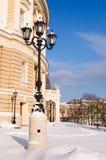De uitstekende lantaarn van de straat in een sneeuw op een de winterdag Royalty-vrije Stock Afbeelding