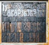 De uitstekende Letterzetsel houten type Hoogste mening van drukblokken stock afbeelding