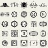 De uitstekende Malplaatjes van het Monogramontwerp Pictogrammensymbolen, Retro Etiketten, Kentekens, Silhouetten royalty-vrije illustratie