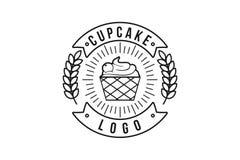 de uitstekende monodielijn cupcake en de tarwe, bakkerijembleem ontwerpen Inspiratie op Witte Achtergrond wordt geïsoleerd vector illustratie