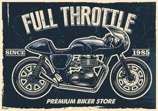 De uitstekende motorfietsaffiche, textuur is gemakkelijk te verwijderen vector illustratie