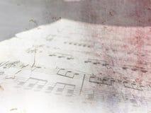De uitstekende muziek van het pianoblad - grunge nota's Stock Foto