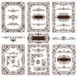 De uitstekende ontwerpelementen siert de randen retro stickers van kaderhoeken en damast vector vastgestelde illustratie Stock Fotografie