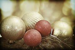 De uitstekende ornamenten van Kerstmis Stock Foto's